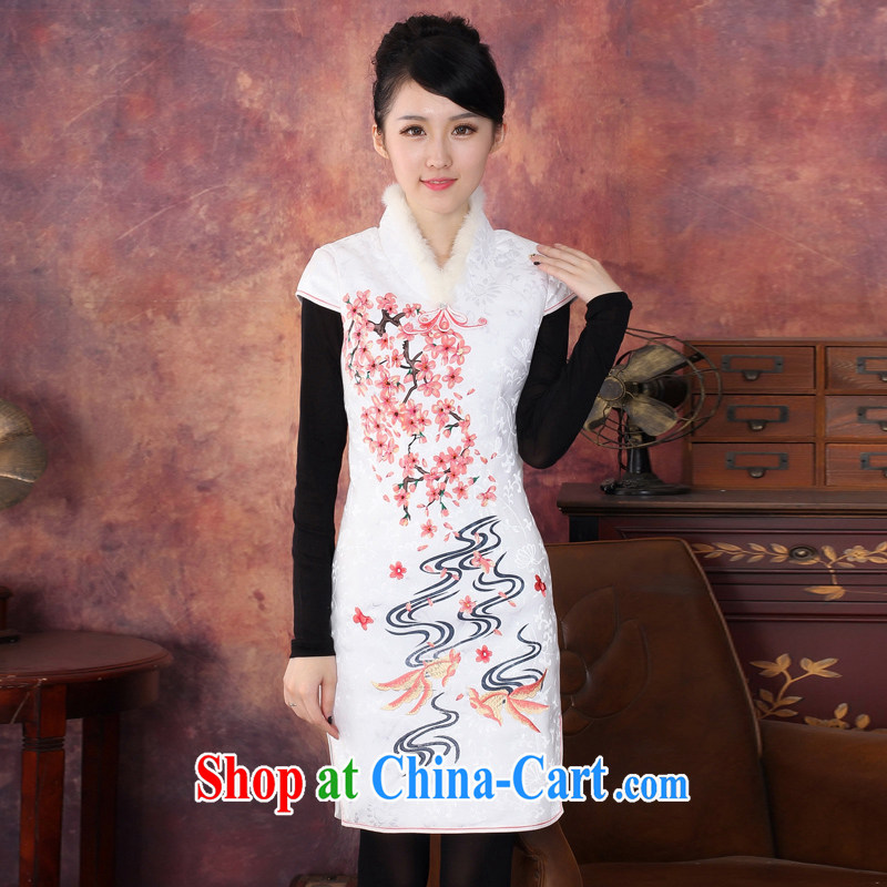2014 new winter clothing clip cotton cheongsam dress thick skirts loose coat skirt 344,601 white S