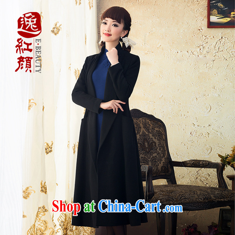 once and for all and fatally jealous King-chi Sau San wool wool fanum long coat new autumn jackets 2015 female hair? windbreaker black XL