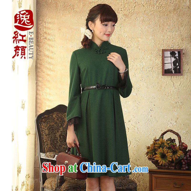 once and for all, proverbial hero, wool is the retro dresses fall and winter New China wind female 9 cuff lace skirt, green 2 XL