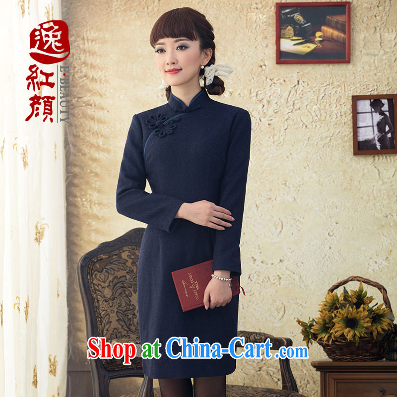 once and for all, fatally jealous fuser winter wool style cheongsam dress, long, for long-sleeved qipao improved retro Navy 2 XL