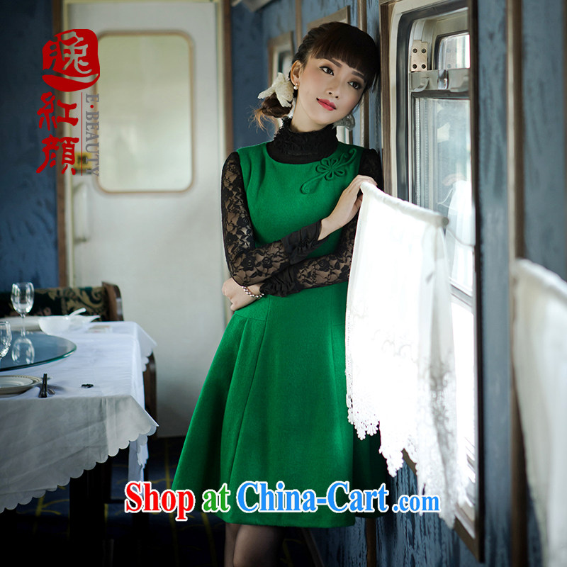 once and for all, fatally jealous fuser new fleece will fall beauty with dress style modern Chinese style dress with skirt green 2 XL