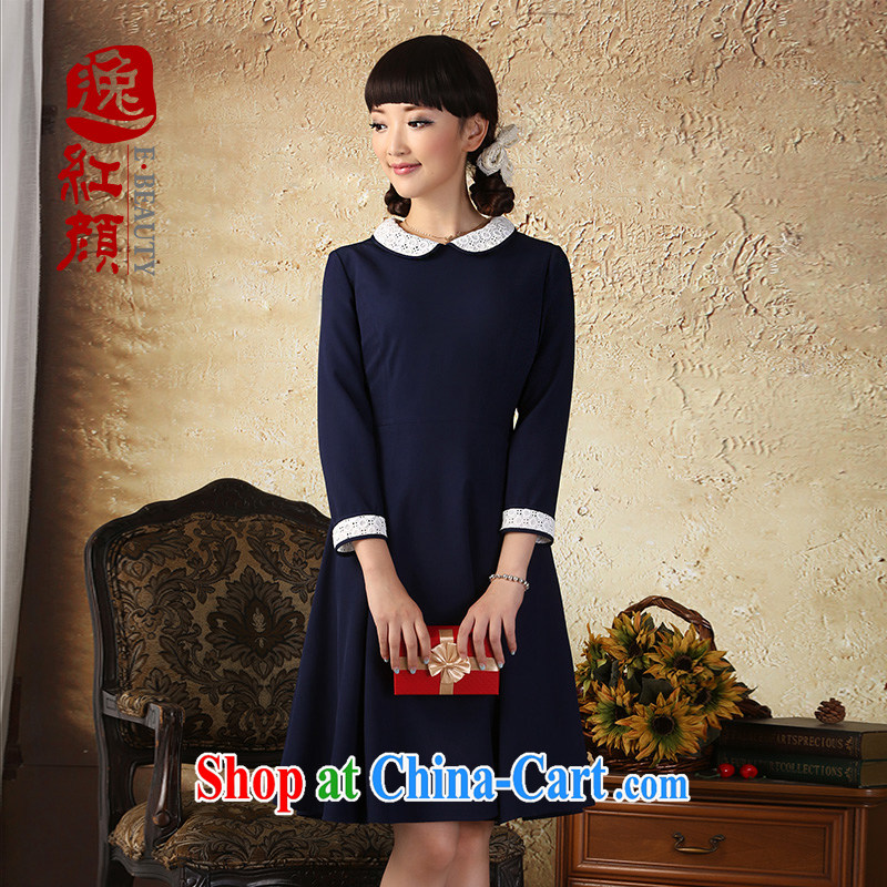 once and for all and fatally jealous Blue heart autumn the new early autumn 2015 new long-sleeved dresses Ethnic Wind improved elegance Tibetan blue 2 XL