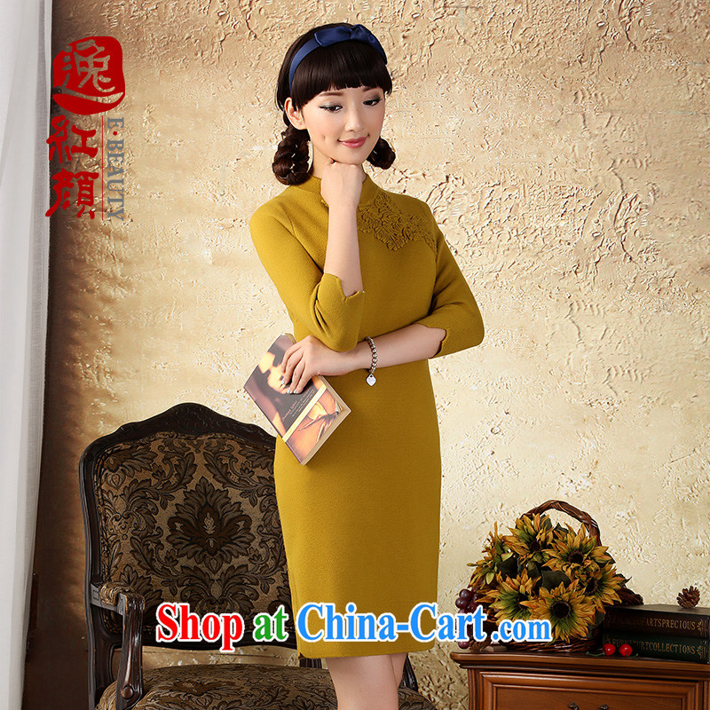 once and for all and without wind ripple Chinese wind cuff dress Chinese, for retro knitted dress with autumn national wind dresses candled XL