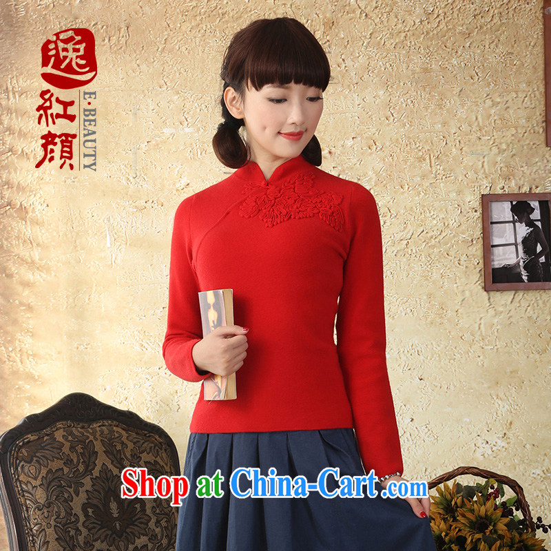 once and for all and without wind ripple China wind Long-Sleeve knit-ethnic wind fall and winter, Chinese beauty sweater jacket red XL