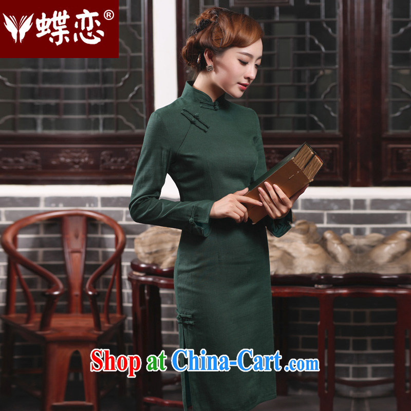 Butterfly Lovers 2015 spring new cheongsam dress improved disposition the commission cotton cheongsam dress dark green 47,017 XXL