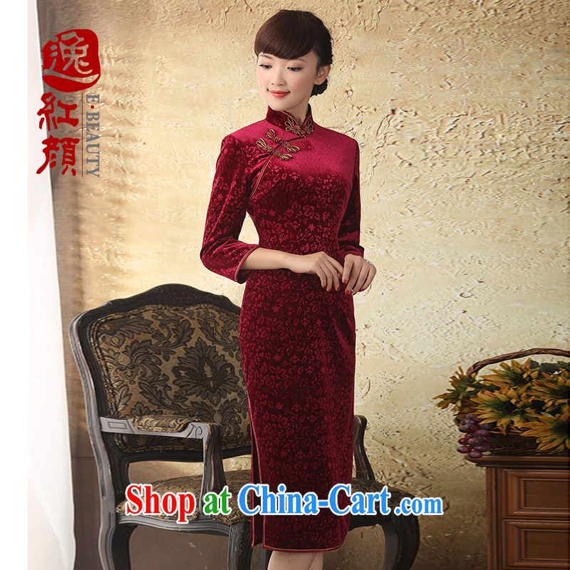 Once the proverbial hero, high-end original gold velour cheongsam dress fall and winter new products, improvements in antique dresses cuff drapery XL