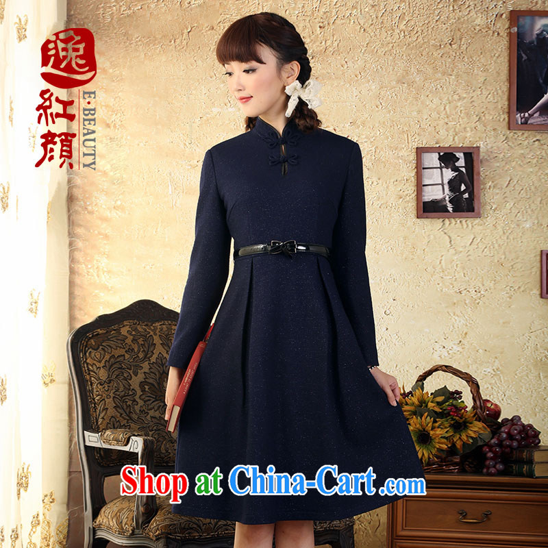 once and for all and fatally jealous Joe Lisa China wind wool silver wire so the collar dresses fall and winter National wind long-sleeved girls skirt Navy 2 XL