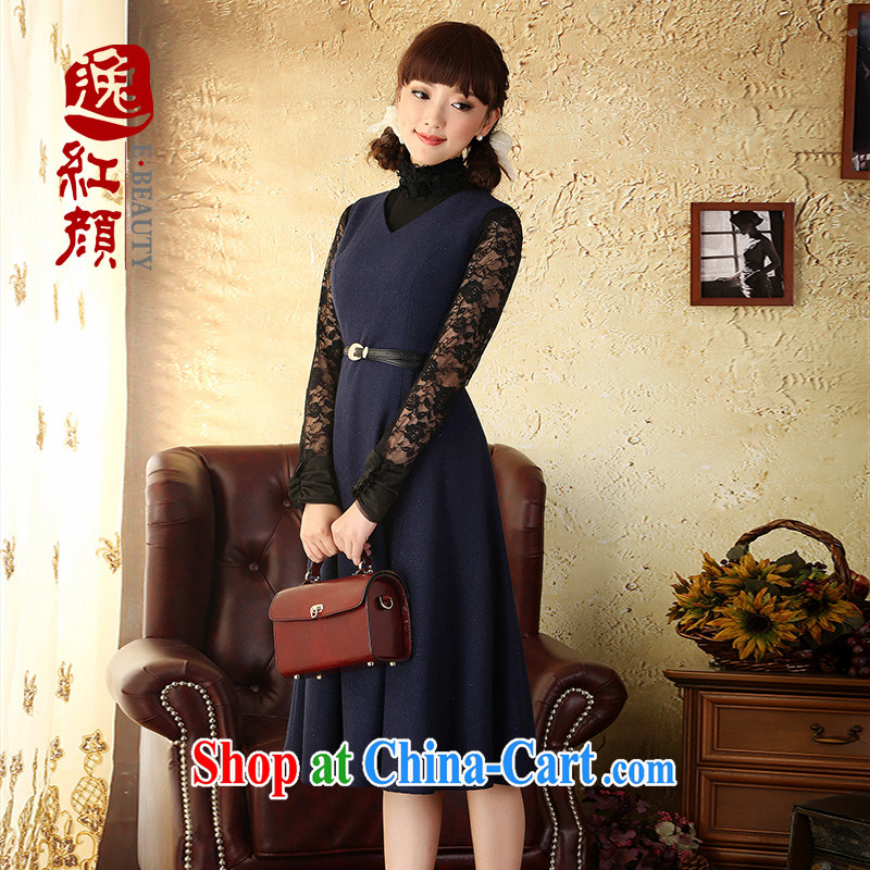 once and for all and fatally jealous Joe Lisa 2015 in beauty, so gross dress autumn and winter New China wind the knee dresses Navy 2 XL