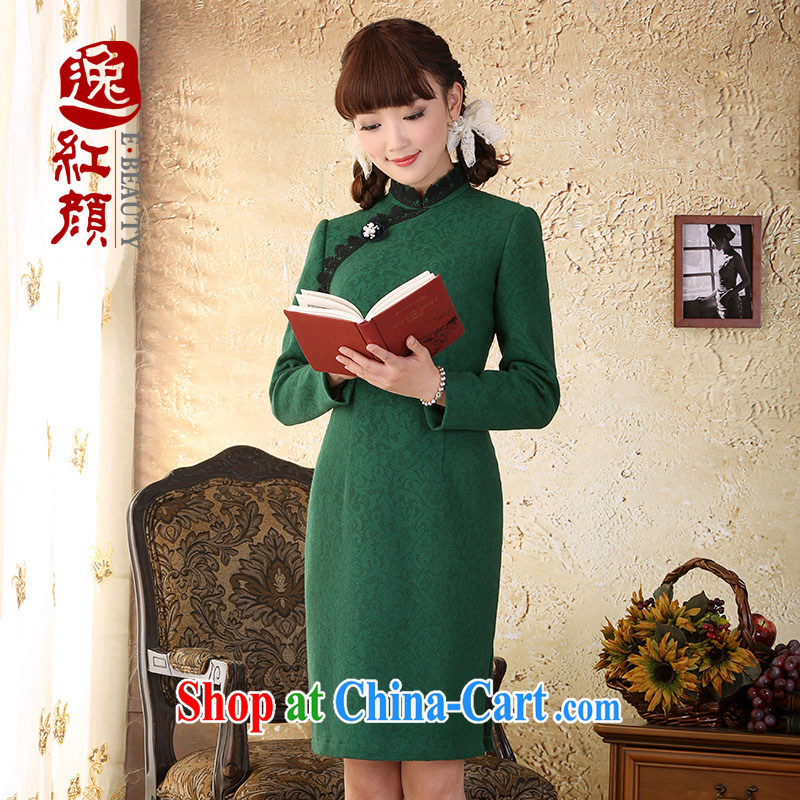 once and for all the proverbial hero Athena high-end improved cheongsam dress spring 2015 new retro lace long hair so as to spend green 2 XL