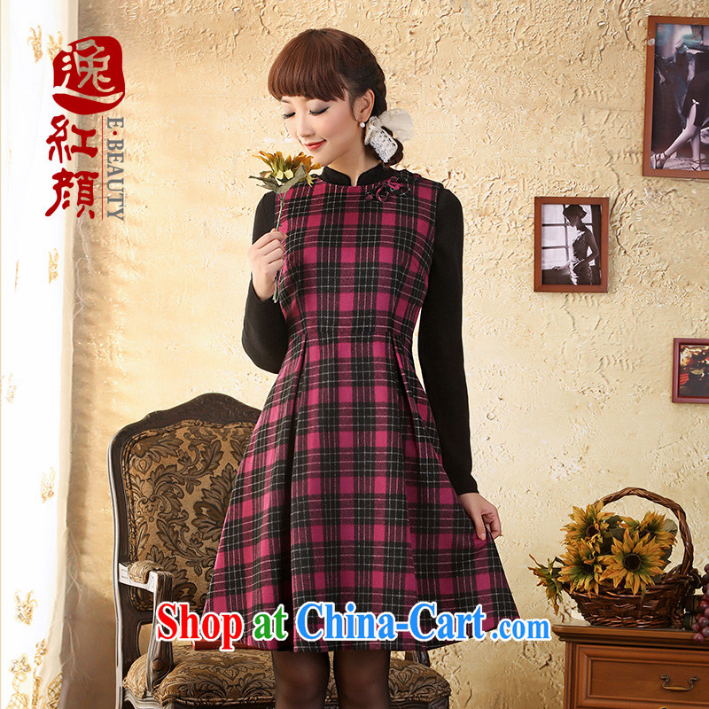 once and for all and fatally jealous cherry sleeveless wool that winter clothing dresses retro beauty Chinese democratic wind vest skirt fashion the red XL
