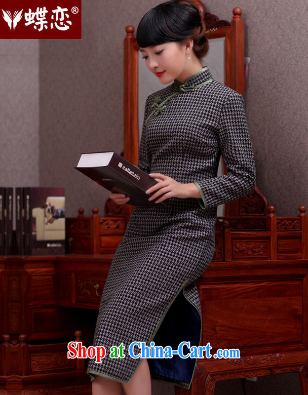 Butterfly Lovers 2015 spring fashion improved cheongsam-yi long-sleeved dress retro checkered long hair dresses? 1000 49,066 birds, XXL