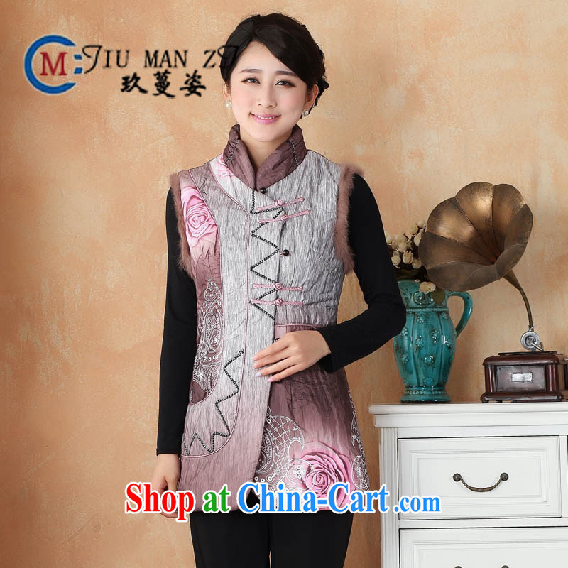 Ko Yo vines into colorful spring and new high-end really rabbit hair rimmed fine hand-tie the ends, leading down the long, short-sleeved vest 2360 2360 - 1 180 _3 XL