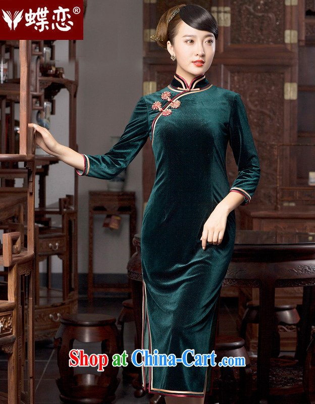 Butterfly Lovers 2015 spring new improved retro style velour cheongsam dress 49,059 MOSS XXL