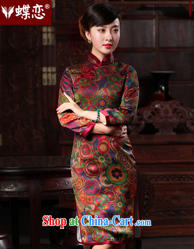 Butterfly Lovers spring 2015 the new, improved, long, fragrant cloud yarn Silk Cheongsam Fashionable dresses 48,013 S rings