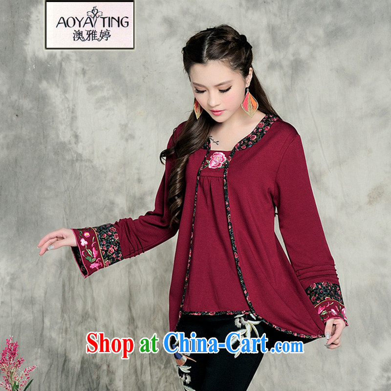 o Ya-ting China wind 2014 autumn and winter with new female Ethnic Wind embroidered long-sleeved solid T pension female beauty larger female square dance red beautiful required XXXL