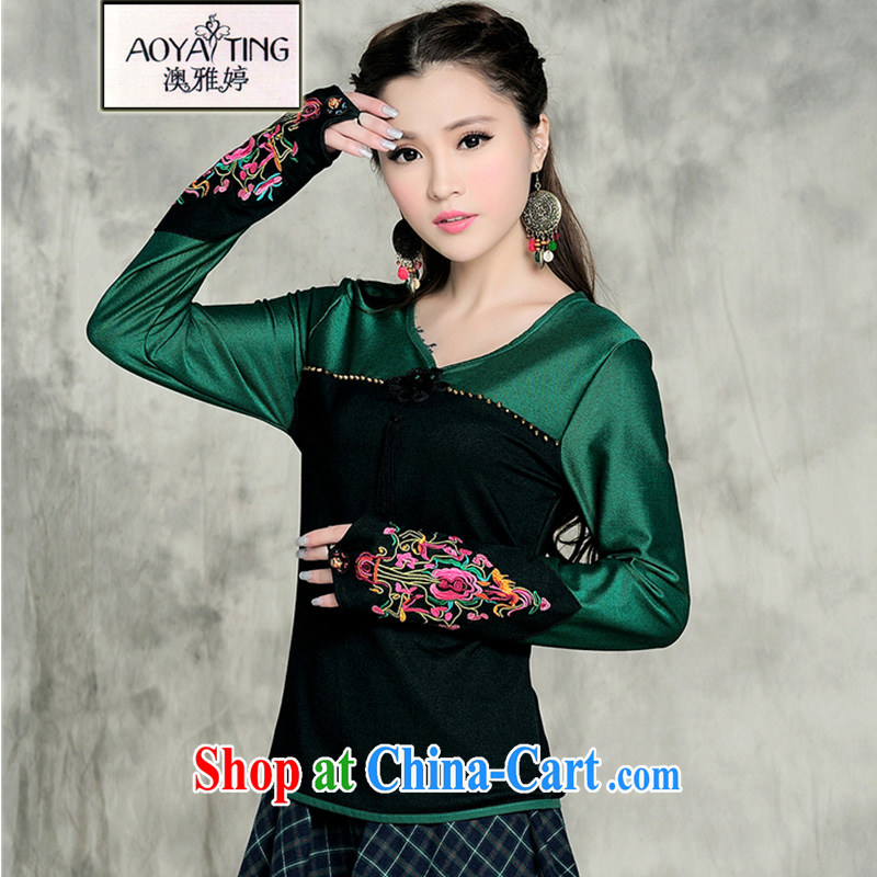 o Ya-ting National wind larger women autumn 2014 the new collision-color embroidery t-shirt girls long-sleeved T-shirt embroidery t-shirt solid square dance uniforms dance clothing green XXXL