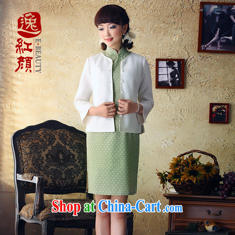 once and for all and fatally jealous upwind 2015 spring and summer New Composite lace knitting garments China National wind knit-fine white XL