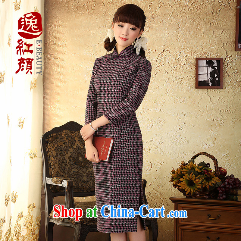 proverbial hero Once warm heart gross 1000 what bird, long-sleeved qipao improved retro new Autumn and Winter Fashion cheongsam dress long grid 2 XL