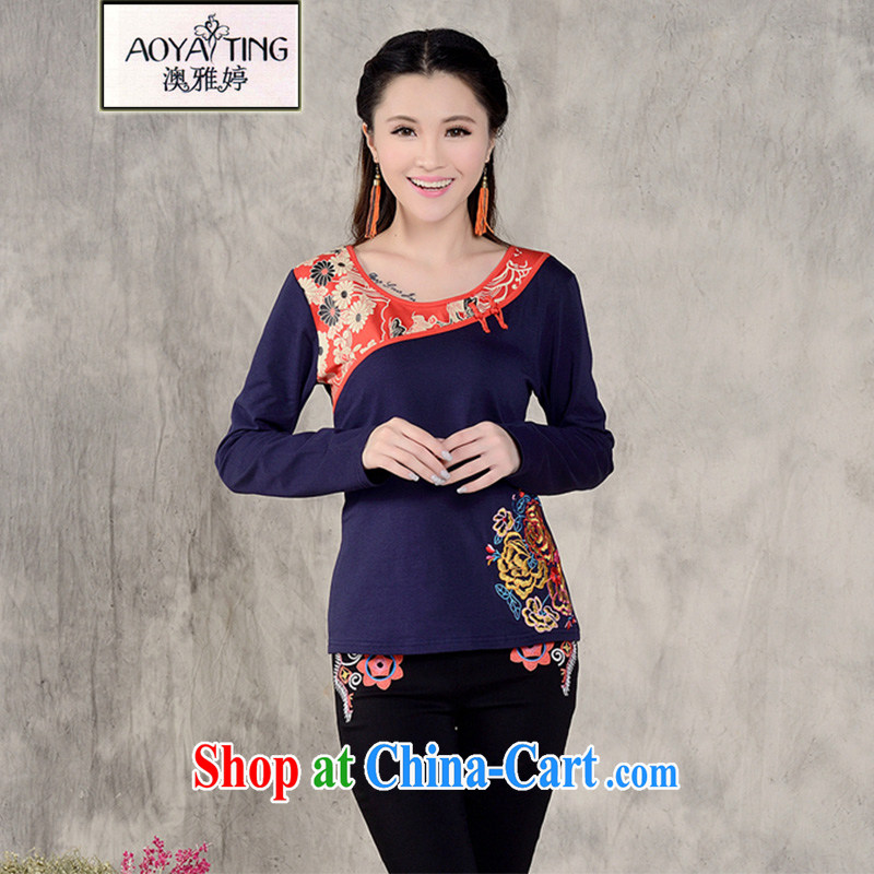 o Ya-ting 2014 autumn and winter clothing new embroidered Ethnic Wind square dance clothes T-shirt and ventricular hypertrophy, female China wind beauty embroidery solid long-sleeved T-shirt woman navy blue L