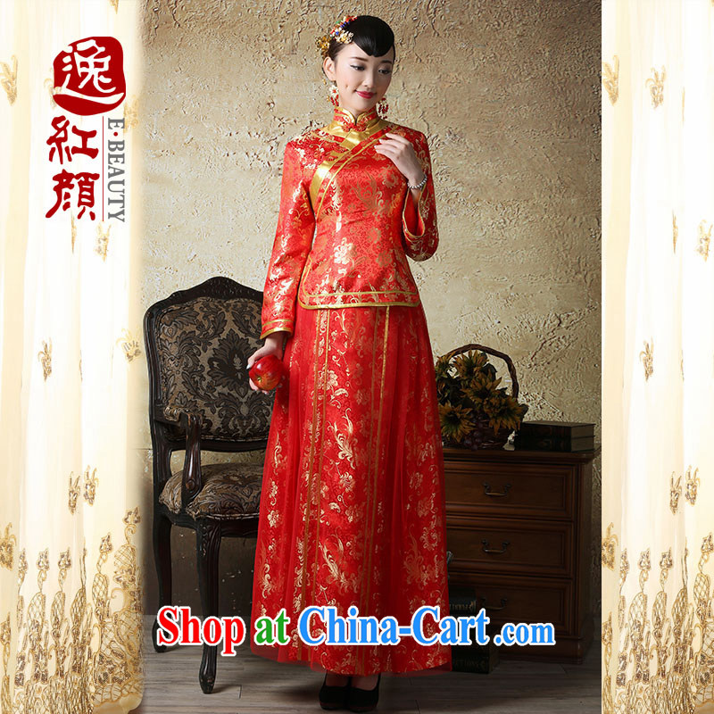 Once Jubilee proverbial hero, long-sleeved wedding dress Kit bridal toast serving long cheongsam dress improved retro red XL