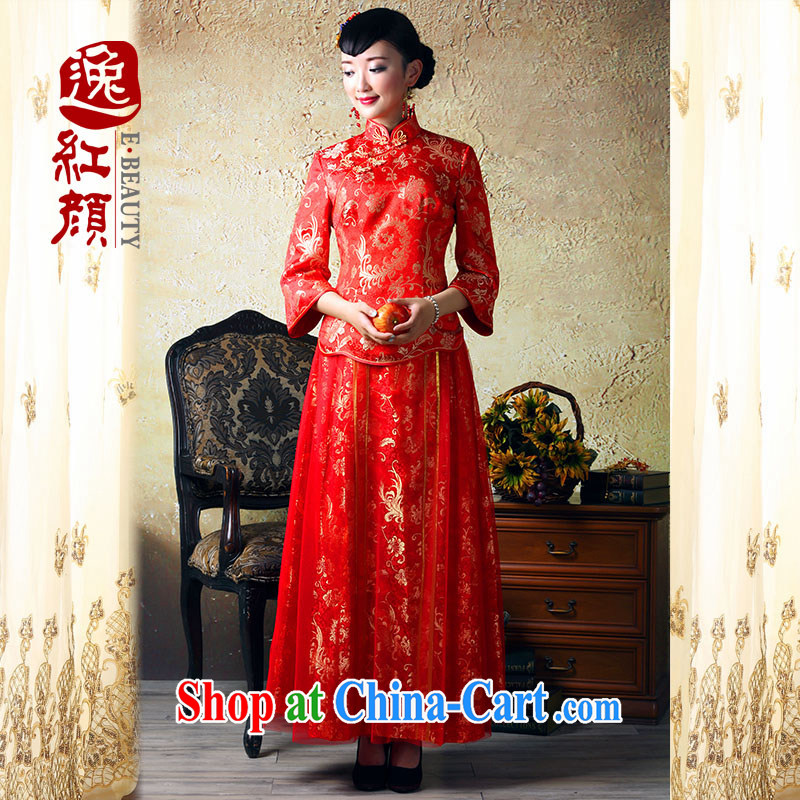 proverbial hero once and for all and millennium-yuan autumn and winter wedding dress the bride cuff antique dresses improved national wind bridal toast serving red S