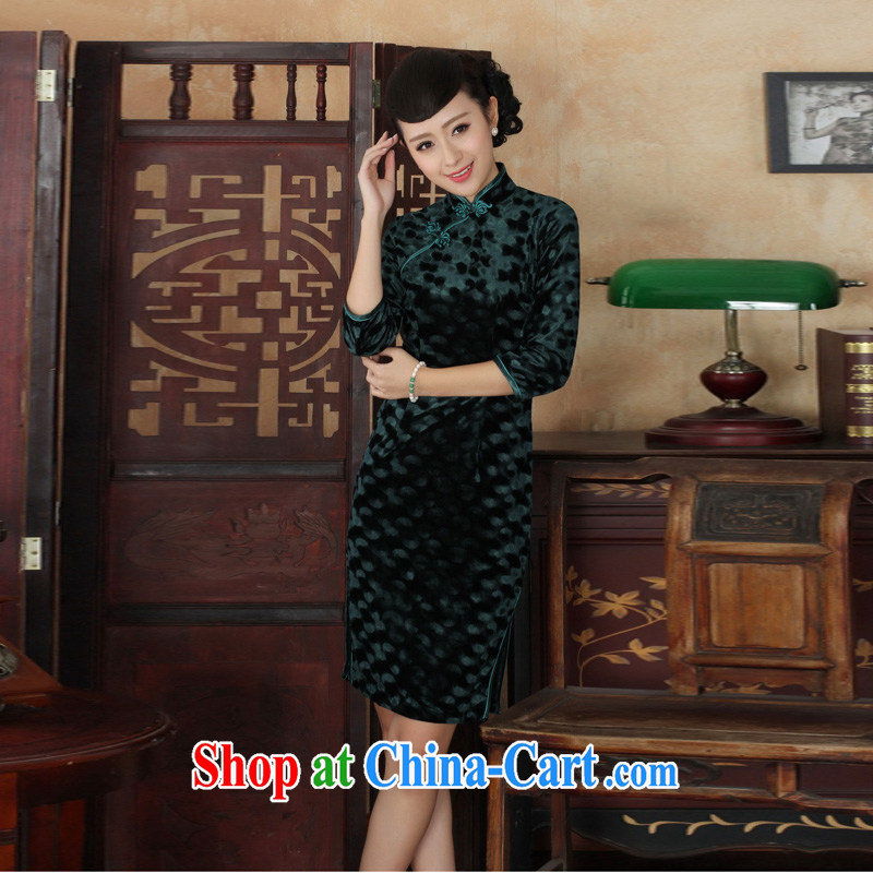 Mrs Ingrid economy sprawl and elegant ladies handcrafted solid-stretch the wool 7 cuff long cheongsam T - B green XXL