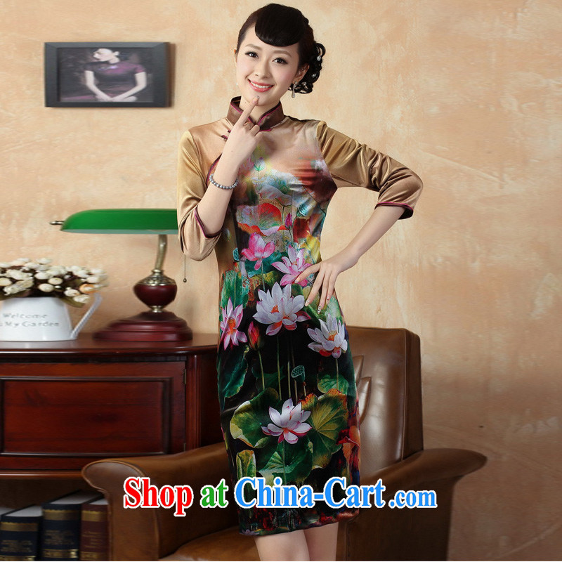Pauline economy sprawl new elegant hand-tie the collar stretch gold velour embroidered cheongsam Chinese dresses as XXL