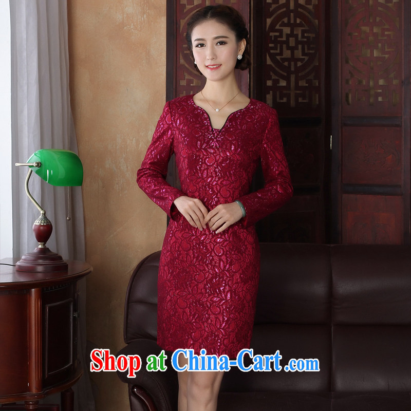 The cross-sectoral spending her non-take new dress robes fall with improved daily lace cheongsam dress light drill nails Pearl cheongsam dress 3193 Y D Red 3XL