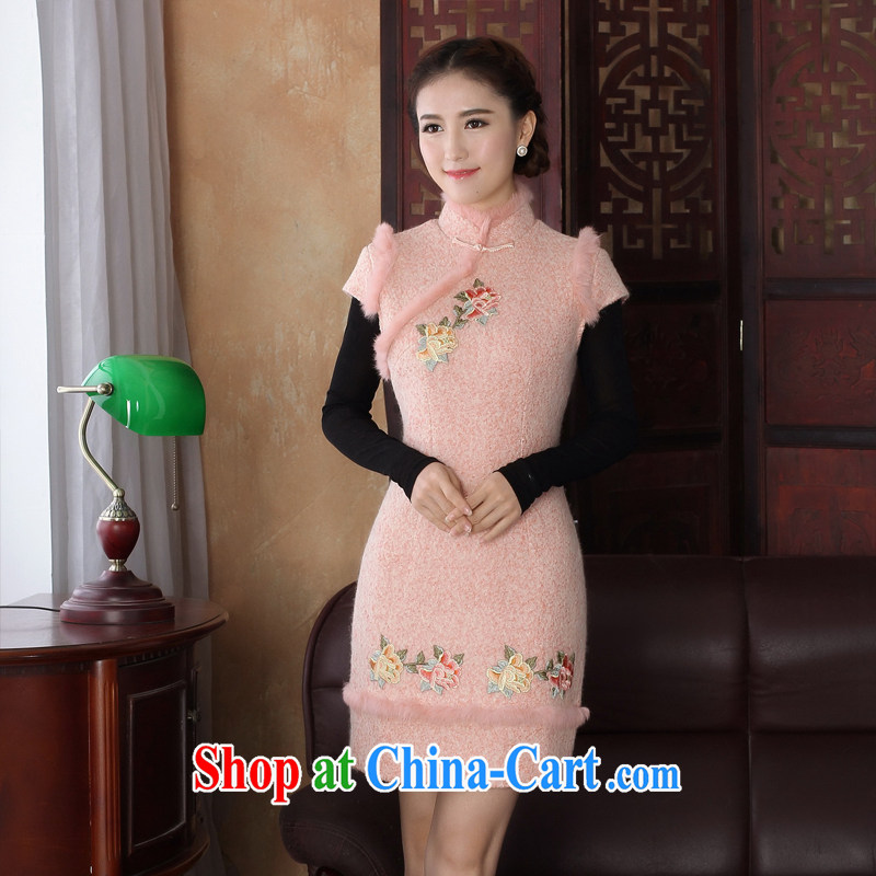 The Yee-Windsor embroidered new winter clothing retro fashion wool is for gross cheongsam improved cultivation style cheongsam dress 3196 Y D bare pink 2 XL