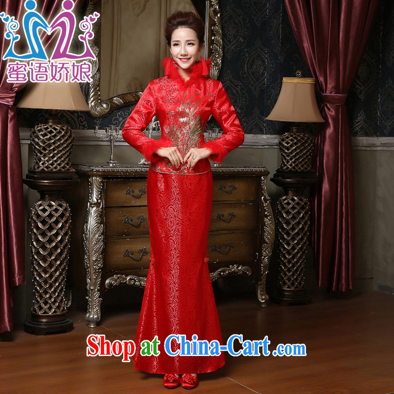 Honey, bride winter bridal dresses wedding toast serving long-sleeved long, large, red, wedding dresses cotton improved dress red XXXL