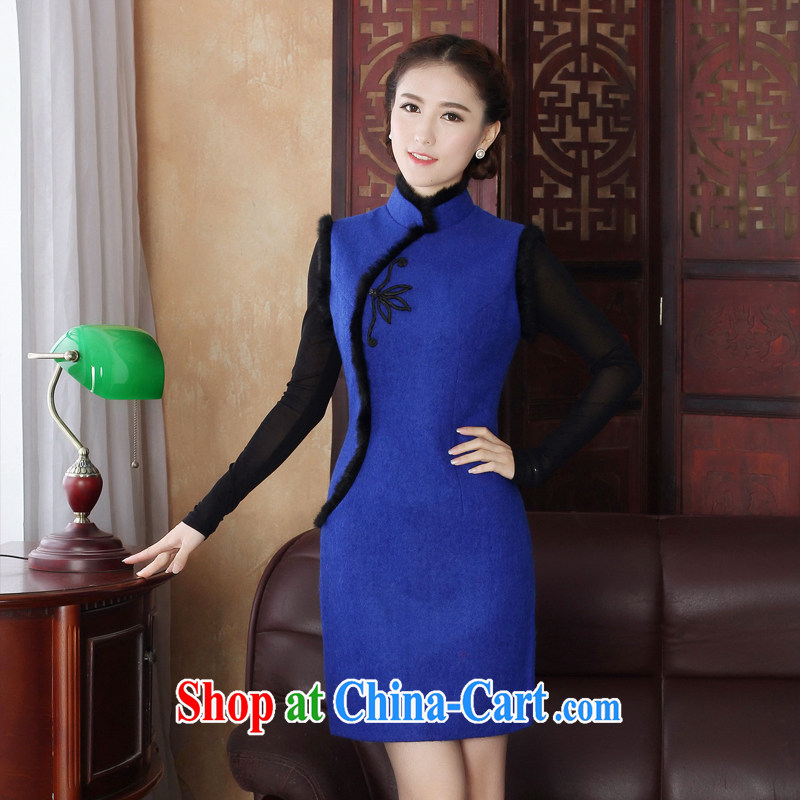 The cross-sectoral thoughts Elizabeth, New wool that autumn and winter with stylish high-end goods such as hair short, improved daily cheongsam dress 3198 Y D Dark Blue 3XL