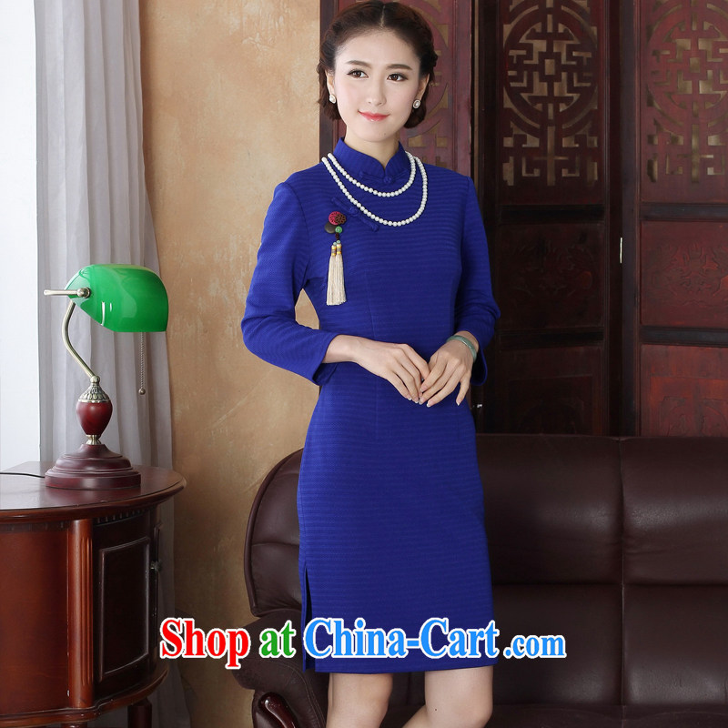 The cross-sectoral point Elizabeth fall dresses dresses retro elegant 2015 summer new, outfit cuff skirt improved stylish 3199 Y D Blue M