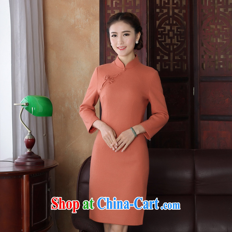 The absence of Elizabeth's new Mr NGAN Kam-chuen, the gross does antique dresses wool? daily improved long-sleeved autumn and winter dresses, skirts 3220 Y D bare orange 2 XL