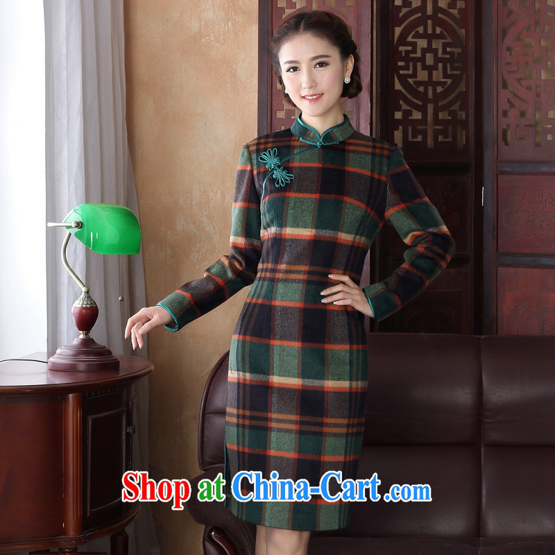 The cross-sectoral concept Windsor, tartan wool dresses? What about wool, long day, improved long-sleeved autumn and winter dresses, skirts Y D 3221 tartan L