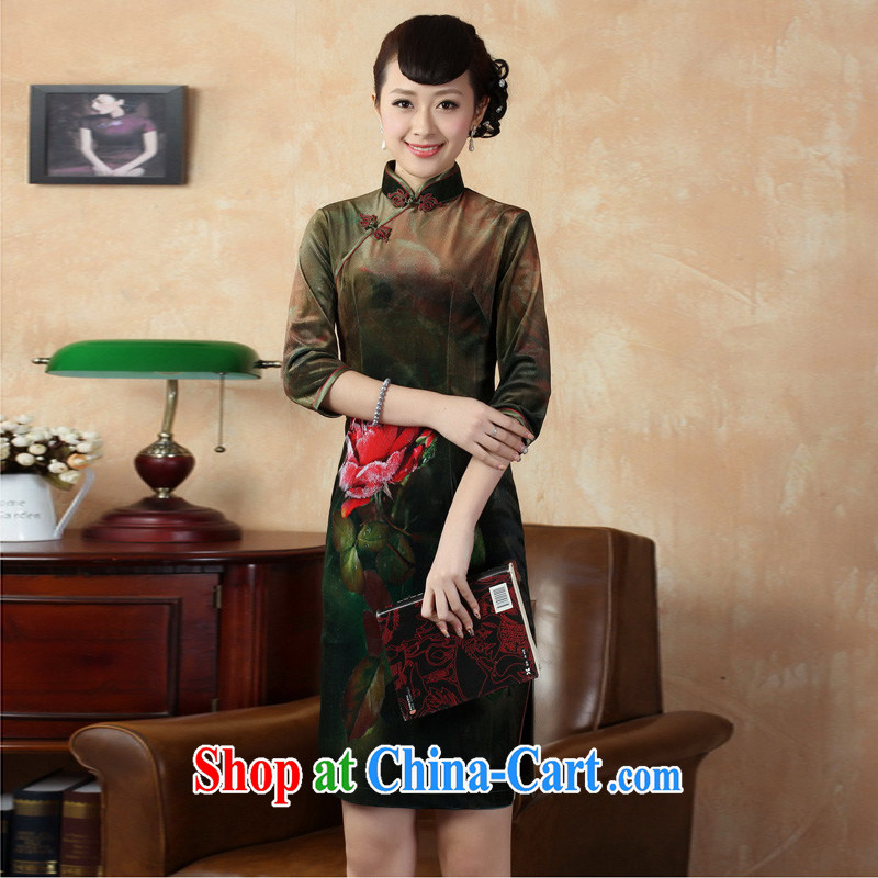 Mrs Ingrid sprawl economy 2014 autumn and winter decorated women in Tang with improved Stylish retro dresses velvet cheongsam shown in Figure XXL