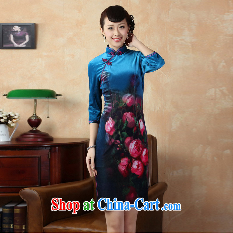 Mrs Ingrid sprawl economy 2014 new, 7 cuff improved manual embroidery stretch gold velour cheongsam dress Chinese-short cheongsam dress as XXL