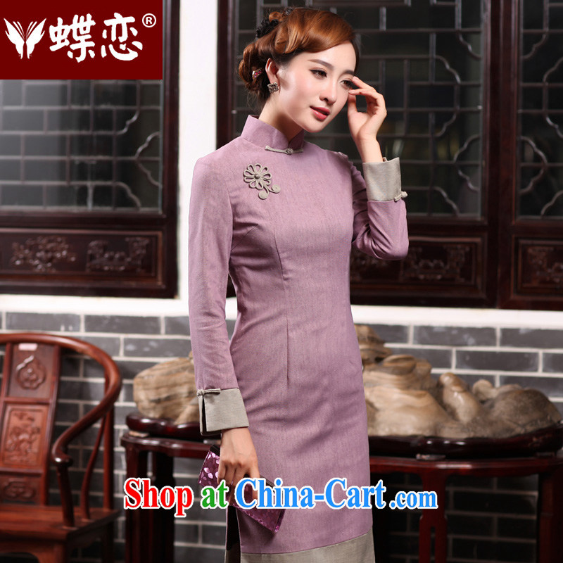 Butterfly Lovers 2015 spring new stylish improved cultivation style cheongsam dress everyday cotton the cheongsam dress 47,015 elegant purple S
