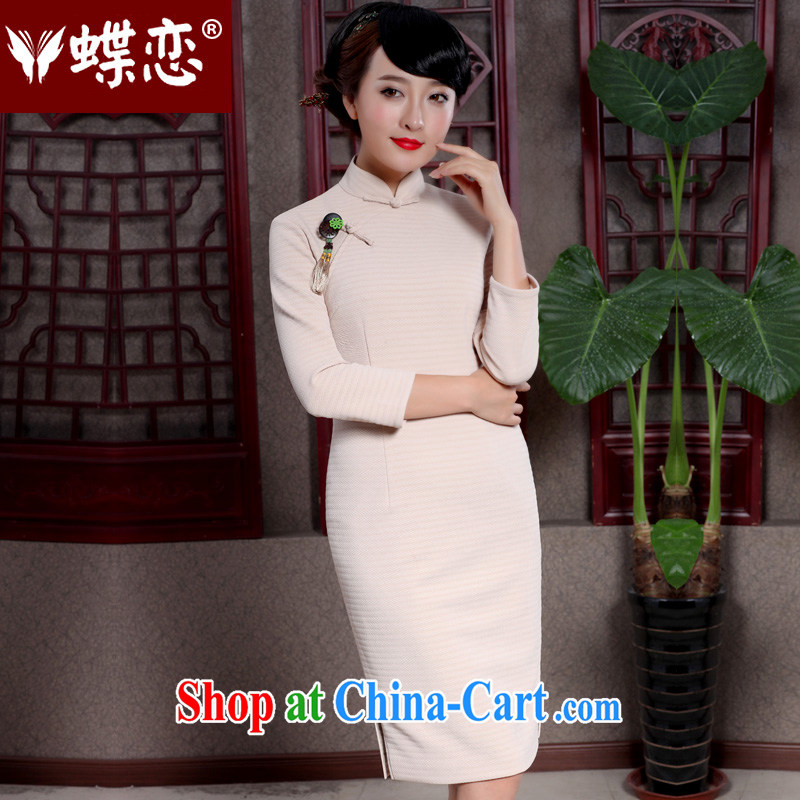 Butterfly Lovers 2015 spring new stylish improved temperament cheongsam dress 49,065 apricot XXXL