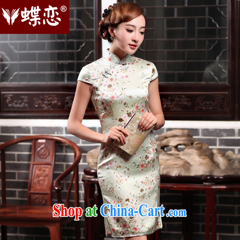 Butterfly Lovers 2015 spring new improved Stylish retro cheongsam dress daily sauna silk Silk Cheongsam 47,019 light green - pre-sale 5 days M