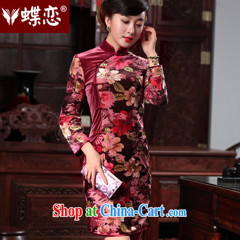 Butterfly Lovers 2015 spring new improved cultivating short cheongsam dress retro style long-sleeved velvet cheongsam 48,012 100 spent XXL scored