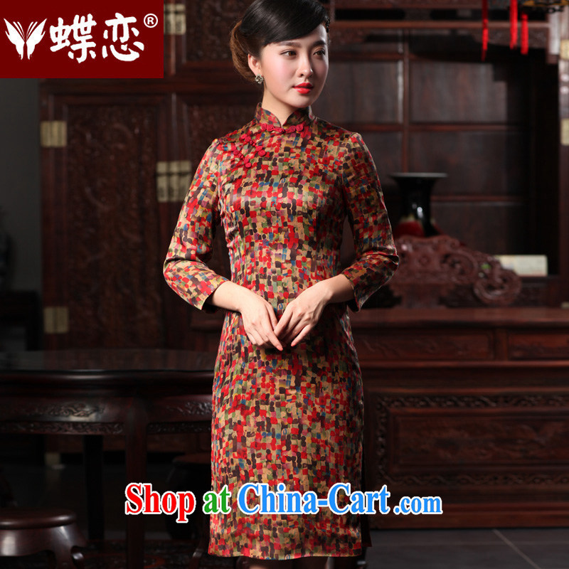 Butterfly Lovers 2015 spring new dresses daily improved, qipao dresses Stylish retro incense cloud yarn cheongsam 48,008 rain obscure XXL