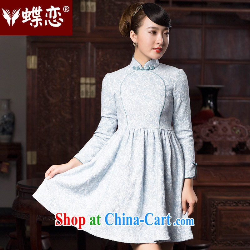 Butterfly Lovers 2015 spring new stylish improved bridesmaid dresses clothing dress retro fashion short cheongsam 48,019 light blue XXL