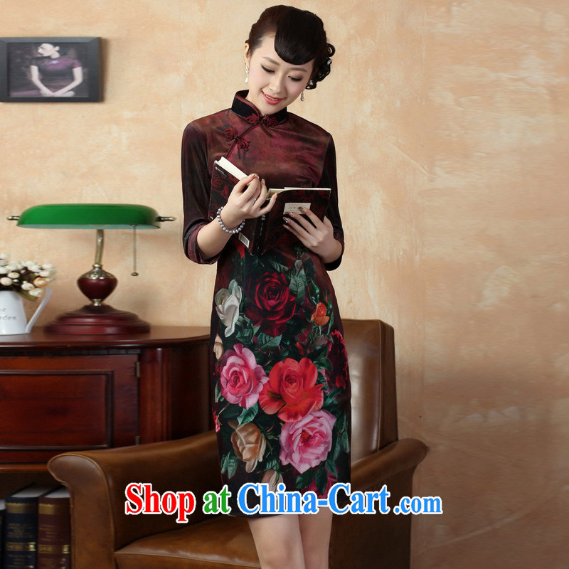 Mrs Ingrid sprawl economy fall 2014 new outfit, Tang Women's clothes, collar stretch the wool poster retro classic improved in short sleeves cheongsam as XXL