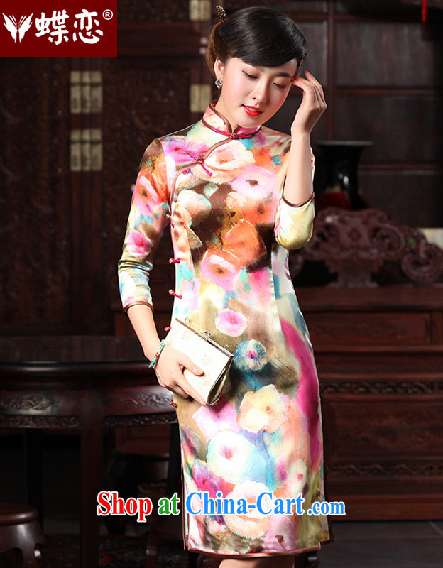 Butterfly Lovers 2015 spring new stylish improved sauna Silk Cheongsam dress daily Silk Cheongsam 48,014 paintings XXL