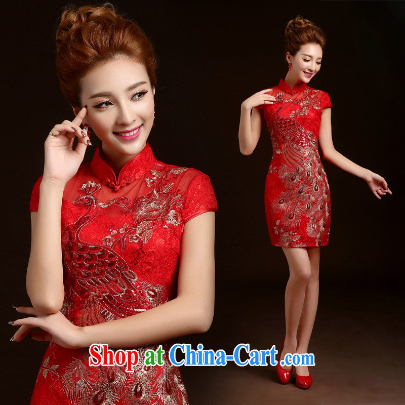 Ting Beverly toast Service Bridal Fashion 2014 autumn and winter wedding dress red short retro embroidery Phoenix cheongsam dress and skirt red XL