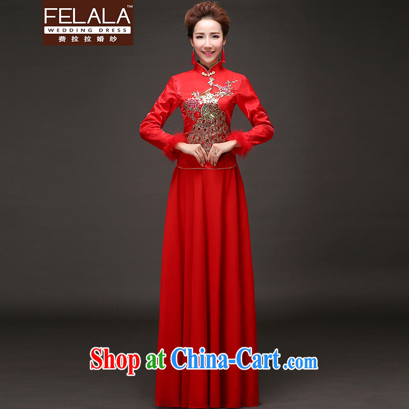 La winter 2015 new retro Chinese light drilling thick cheongsam dress maternity dress XL Suzhou shipping