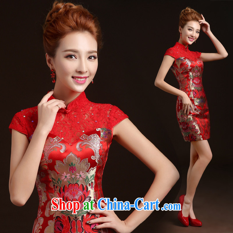 Ting Beverly dresses new 2014 fall and winter with short Chinese Dress toast Service Bridal Fashion winter wedding dresses red XXL