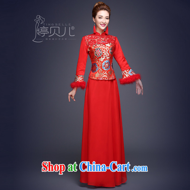 Ting Beverly toast Service Bridal Fashion 2014 new winter dress wedding dresses red long-sleeved, use phoenix Sau kimono red XXL