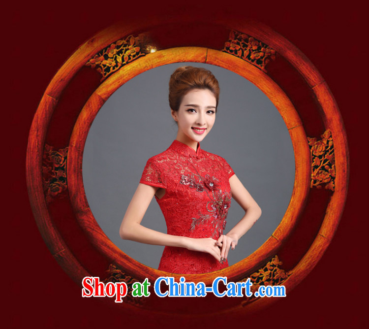 Ting Beverly served toast winter 2014 new bride wedding dress long lace cheongsam red Chinese Dress autumn red short-sleeved XXL pictures, price, brand platters! Elections are good character, the national distribution, so why buy now enjoy more preferential! Health