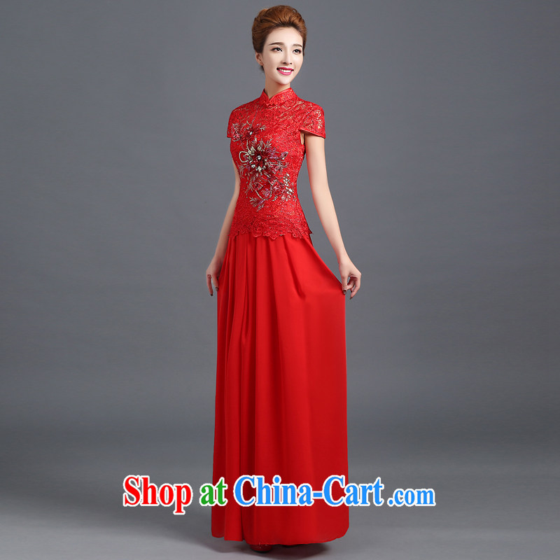 Ting Beverly served toast winter 2014 new bride wedding dress long lace cheongsam red Chinese Dress autumn red short-sleeved XXL